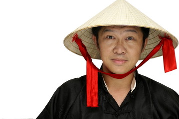 Friendly asian man with conical hat