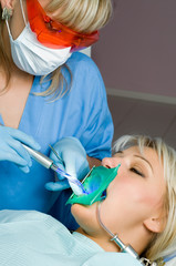 dentistry, cavity filling, ultraviolet lamp