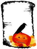 Crow on Halloween Pumpkin Frame