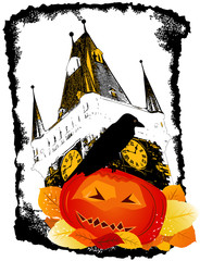 Crow on Halloween Pumpkin against Old Gothic Tower