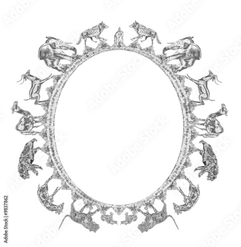 Animal Kingdom Sterling Sliver Oval Frame - isolated clipping
