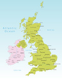 United Kingdom and Ireland vector map poster