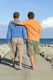 Gay couple walking on pathway poster