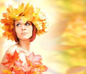 joung beautiful autumn-girl