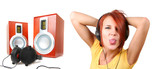 funny colorful girl listening music