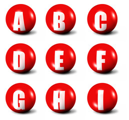 alphabet made of red 3D spheres - set one, letters from A to I