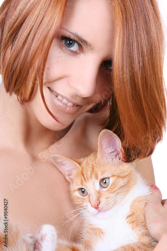 poster of beautiful redhead girl with red fluffy kitten