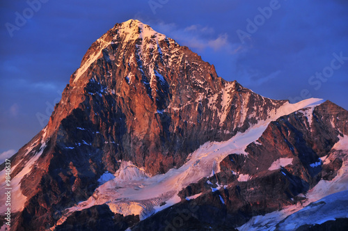 the Dent Blanche (4357m) in the Swiss Alps at sunset