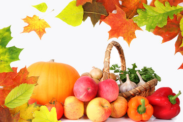 Autumn laeves and healty vegetables