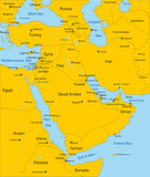 map of Middle East country poster