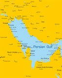 color map of Persian gulf countries poster