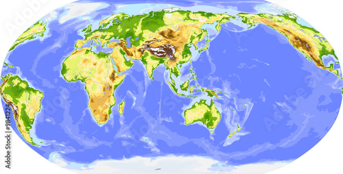 Physical world vector map, centered on Asia
