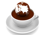 Fototapety Earth on cup of coffee. 3d