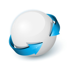 Sphère et 2 flèches