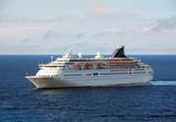 Ocean liner making Caribbean journey poster
