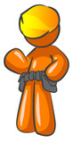 An orange man contractor construction man gesturing poster