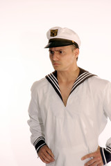 sailor man frowns