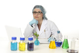 Scientist conducting botanical or medical research in a lab poster