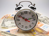 alarm clock both monetary denominations  euro and dollars