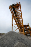 industrial conveyor on delivery of building rubble poster