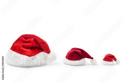 drei verschieden gro e weihnachtsm tzen in einer reihe stockfotos und lizenzfreie bilder auf. Black Bedroom Furniture Sets. Home Design Ideas