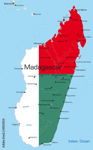 map of Madagascar country colored by national flag