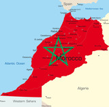 map of Morocco country colored by national flag poster
