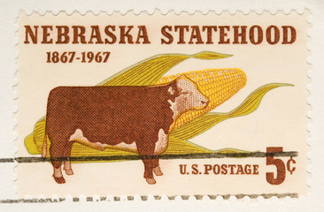 This is a vintage 1967  Stamp Nebraska Statehood