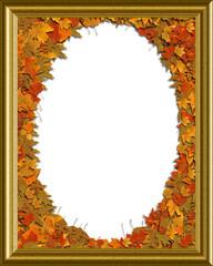 Autumn Fall Golden Oval Frame