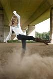 Dust kicking Paris Hilton look-a-like in a fashion shoot poster