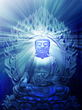Buddha religious illustration with glowing light halo poster