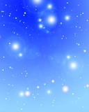 Distant stars glittering on a soft blue background poster