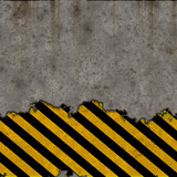 A grunge background with hazard stripes over a concrete wall poster