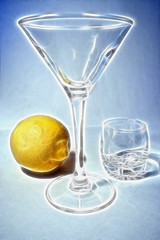 abstract scene ripe lemon in liquor-glass