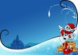 Snowy Christmas 7 - background illustration with snowman