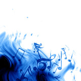 Fototapety music notes on a soft blue background