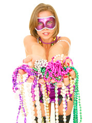 colorful mardi gras queen offering a lot of beads isolated