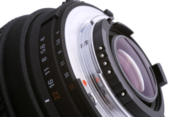 close up of lens and aperture scale