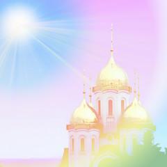 glow blue sky on church temple