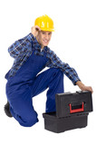 Workman with Toolbox poster