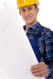 Workman with Blueprints poster