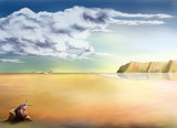 surreal landscape background poster