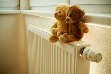 Two teddy bears on top of the heater or thermoregulator.