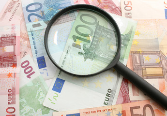 money background and black loupe