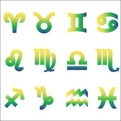 zodiac signs vector icon set