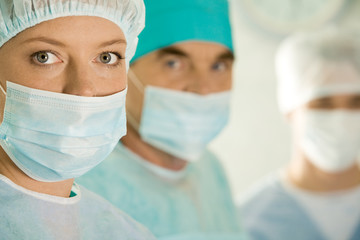 Portrait of female surgeon wearing protective mask