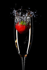 strawberry splash in a champagne flute
