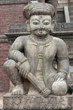 Statue Guarding the Steps to a Hindu Temple poster