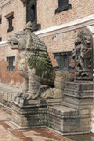 Statue of Mythical Beast. Durbar Square, Bhaktapur, Nepal poster