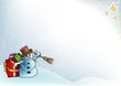 Snowy Christmas 9 - background illustration  with snowman